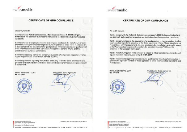 KOLB RECEIVED CERTIFICATE OF GMP COMPLIANCE BY SWISSMEDIC