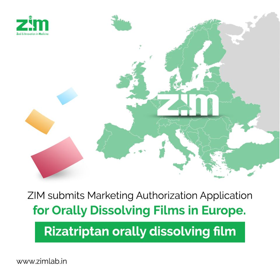 ZIM Announces Submission of Marketing Authorization Application for 'Rizatriptan' orally dissolving film in Europe
