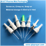 Metered nasal sprayer (nasal spray pump), screw, snap, crimp on.