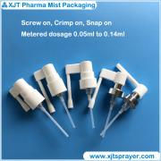 Metered throat / oral sprayer (throat / oralspray pump), screw, snap, crimp on.