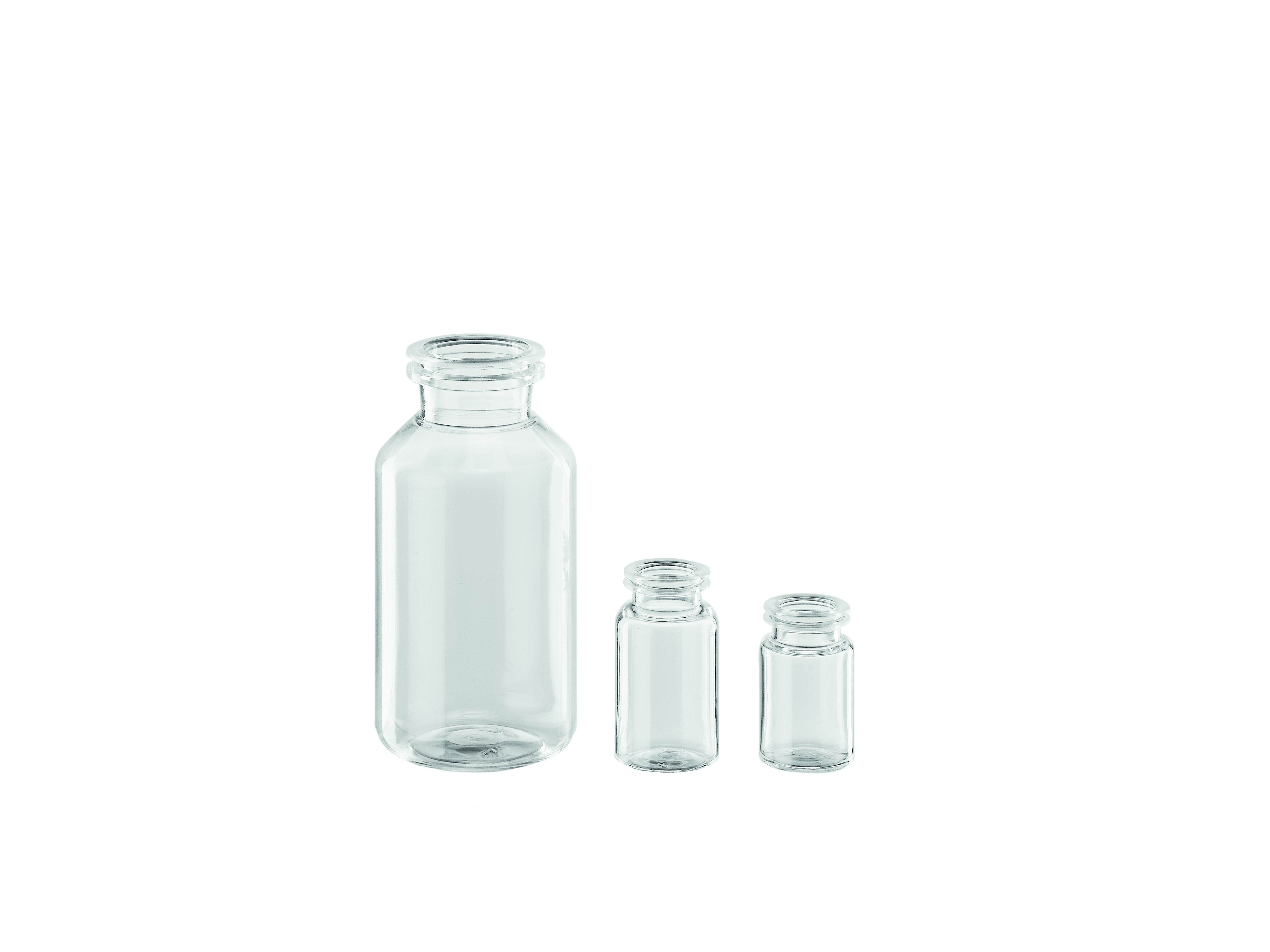 COP injection bottles with crimp neck finish