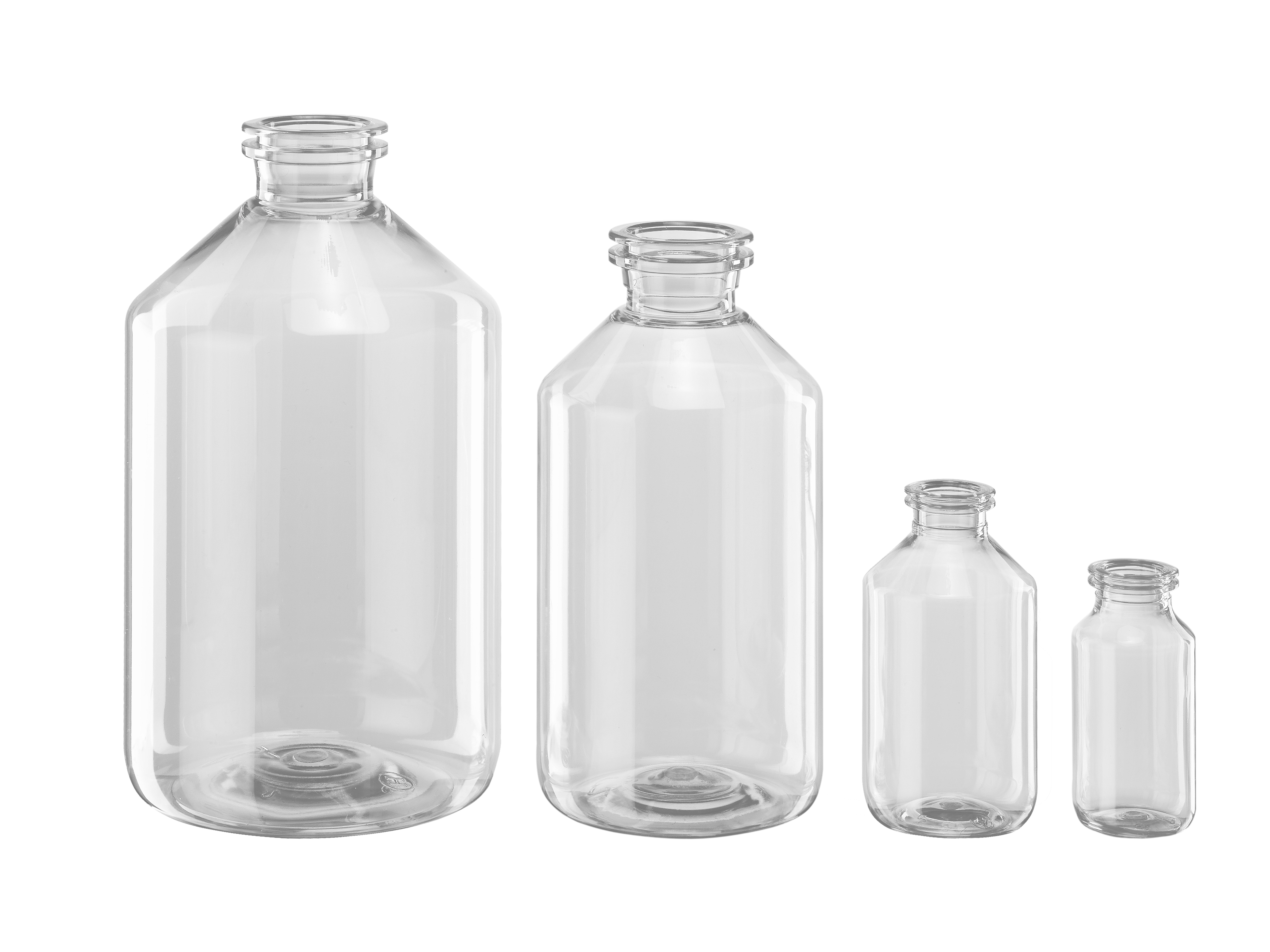 PET injection bottles with crimp neck finish